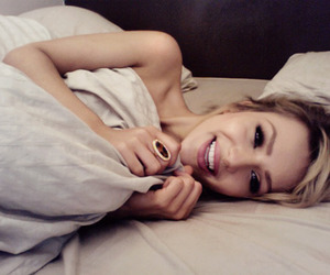 bed, blonde, and smile image