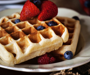 waffles, strawberry, and blueberry image