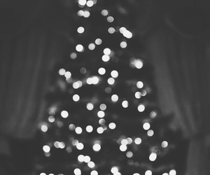 black and white, christmas, and bokeh image