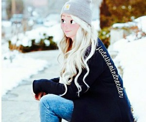 winter, outfit, and blonde image