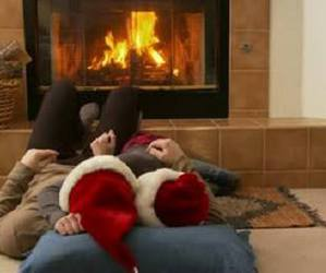baby, cold, and fireplace image