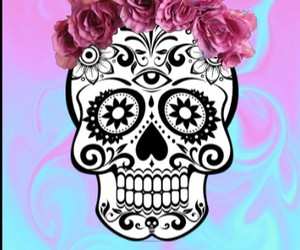 background, calaveras, and flowers image