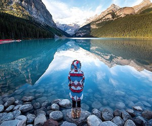 lake, mountains, and girl image