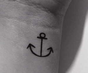 anchor, black and white, and tattoo image