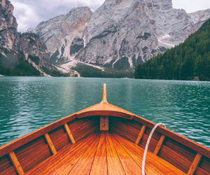 mountains, boat, and nature image