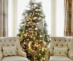 christmas tree, lights, and living room image
