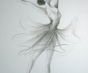 ballerina, drawing, and white image