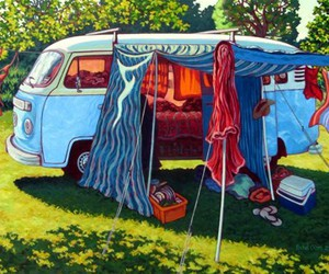 art, campervan, and camping image
