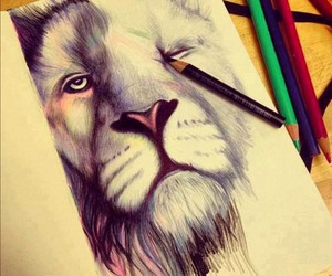lion, drawing, and art image