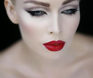 makeup, make up, and red lips image