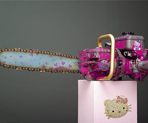 hello kitty, chainsaw, and pink image