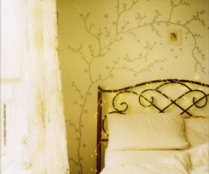 bed, polaroid, and tree image