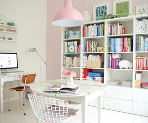 room, books, and pink image