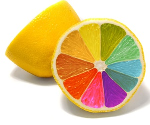 lemon, rainbow, and colors image