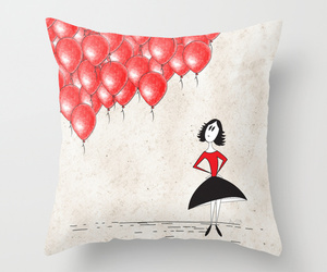 99 red balloons, art, and bed image