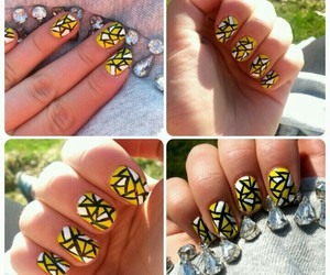 nails, yellow, and nailart image