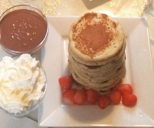 choclate, pancakes, and food image