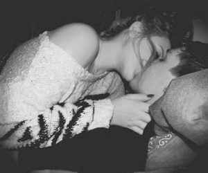black&white, love, and couple image