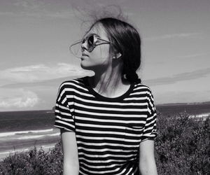 girl, black and white, and beach image