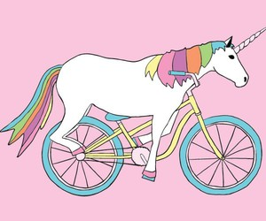 unicorn, pink, and bicycle image