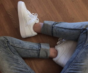 jeans, nike, and white image