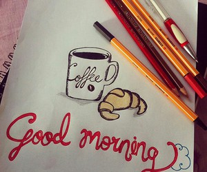 coffee, drawing, and good morning image