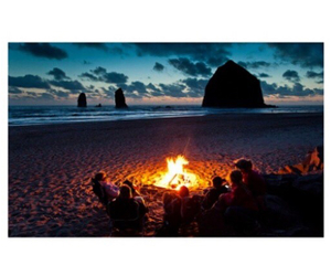 beach, fire, and night image
