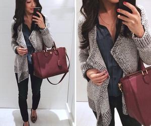 cardigan, flats, and maroon purse image