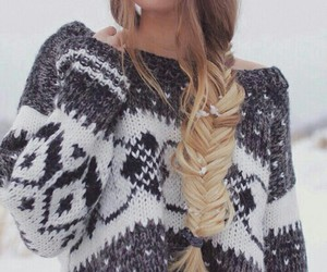 hair, snow, and sweater image