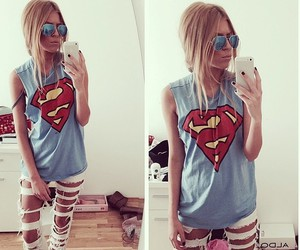 fashion, girl, and superman image