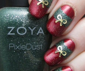 nails, christmas, and bow image