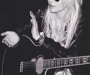 Taylor Momsen, black and white, and guitar image