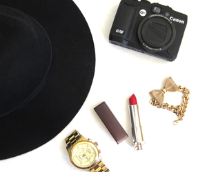 hat, Michael Kors, and lipstick image