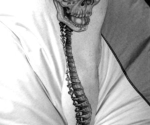 tattoo, skull and spine, and haunting and lovely image