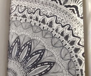 art, black and white, and zentangle image