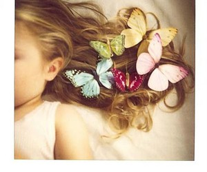 butterfly, hair, and child image