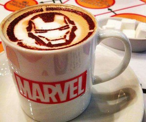 Marvel, coffee, and iron man image