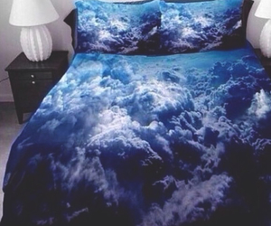 bed, clouds, and sky image