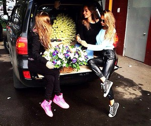flowers, sisters, and friends image