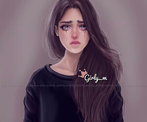 girl, cry, and sad image