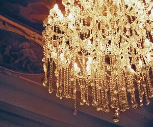 light, chandelier, and vintage image