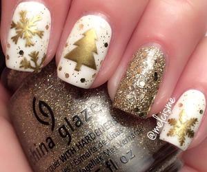nails, christmas, and gold image