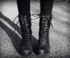 boots, black, and combat boots image
