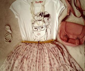 bag, flowers, and outfit image