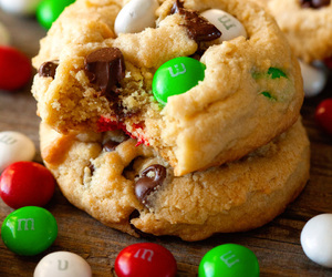 food, m&m, and cookie image