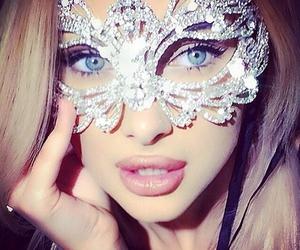 girl, mask, and lips image