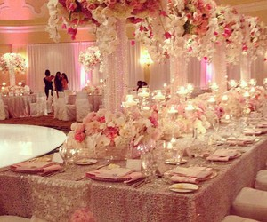 flowers, pink, and lights image