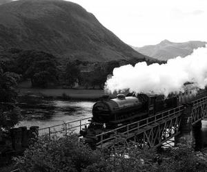 black and white, harry potter, and hogwarts express image