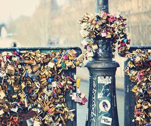 love, paris, and lock image