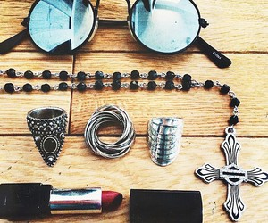 grunge, rings, and sunglasses image